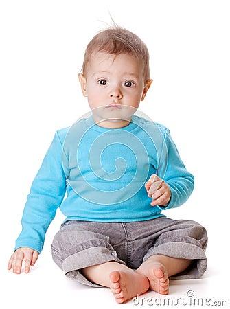 Zittende Kleine Baby Royalty Vrije Stock Afbeelding
