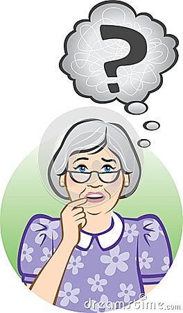 Zmieszana starsza kobieta