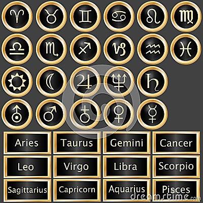 Zodiac Astrology Web Buttons