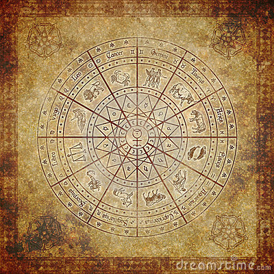 Free Zodiac Circle On Very Old Paper Stock Image - 20188781