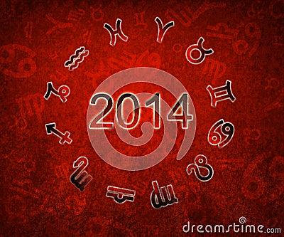 2014 Zodiac circle with zodiac sign