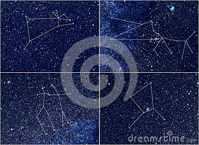 Zodiac constellations Aries Taurus Gemini Cancer