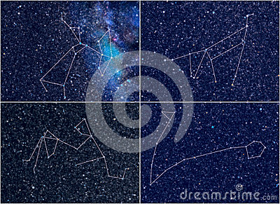 Zodiac constellations Sagittarius Capricorn Aquarius Pisces