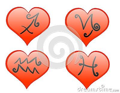 Zodiac hearts icon