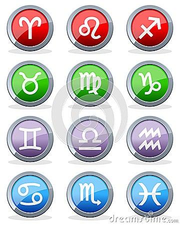 Zodiac Horoscope Glossy Buttons