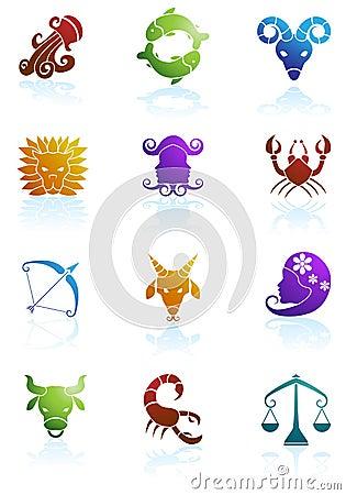 Free Zodiac Horoscope Icons Royalty Free Stock Image - 9504736