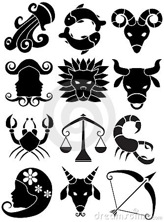 Zodiac Horoscope Icons - black and white