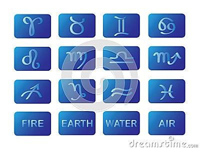 Zodiac horoscope symbols blue signs vector
