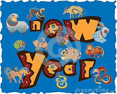 Zodiac icons of new year