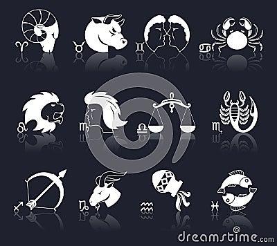 Free Zodiac Icons White Stock Image - 48754511