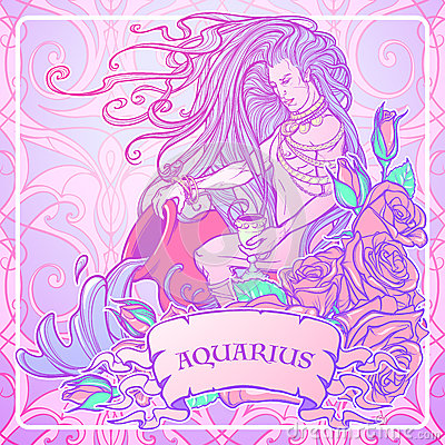 Zodiac sign aquarius beautiful young man with long hair for Pastel goth tattoos
