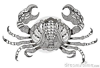 zodiac sign cancer vector illustration crab zentangle. Black Bedroom Furniture Sets. Home Design Ideas