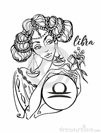 Zodiac sign Libra as a beautiful girl. Horoscope. Astrology.Coloring. Vector Stock Photo
