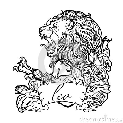 Free Zodiac Sign Of Leo With A Decorative Frame Roses. Royalty Free Stock Image - 81956856
