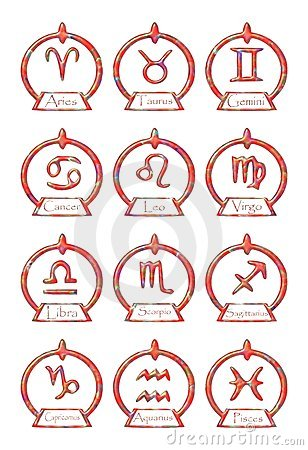 Set of Zodiac signs symbols in an elegant version