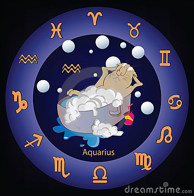 Zodiac Signs. The Aquarius. Cartoon Stock Images - Image: 19587604