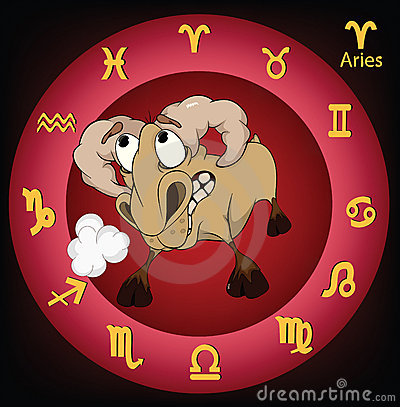 Zodiac signs. Aries. Cartoon