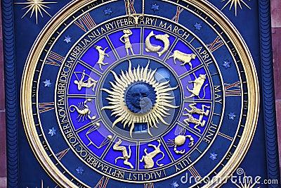 Zodiac signs on clock