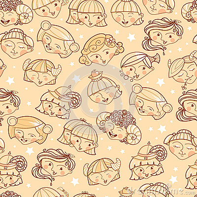 Zodiac signs girls seamless pattern background