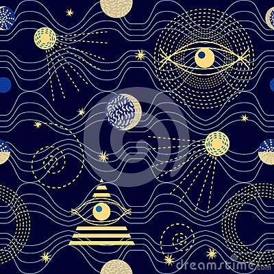 Free Zodiac Sky. 1950s-1960s Motifs. Retro Textile Collection. Royalty Free Stock Image - 85714956