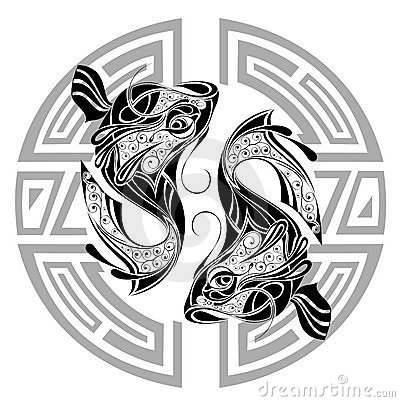 zodiac wheel with sign of piscestattoo design royalty