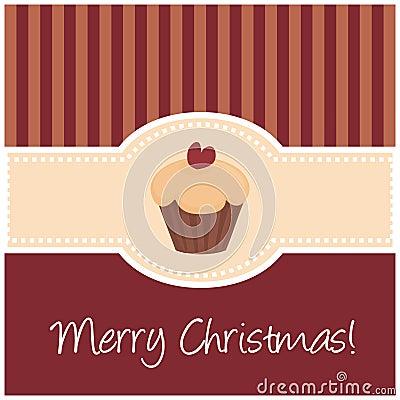 Zoete retro Kerstmiskaart met muffin cupcake
