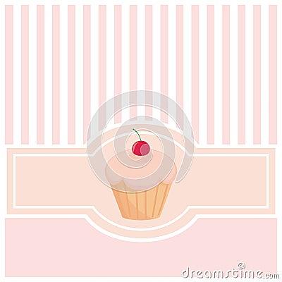 Zoete, roze kaart of uitnodiging met muffin