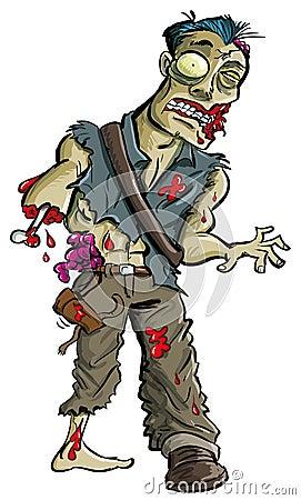 Zombi de bande dessinée avec le bras mangé au loin