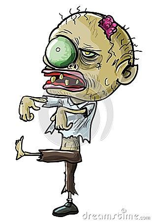 Zombi dos desenhos animados com um olho grotesco
