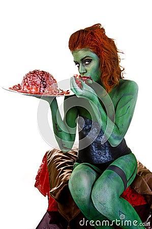 Zombie Body Paint Royalty Free Stock Image - Image: 10592746 Human Head Brain Vector