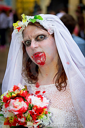 Zombie bride Editorial Stock Photo