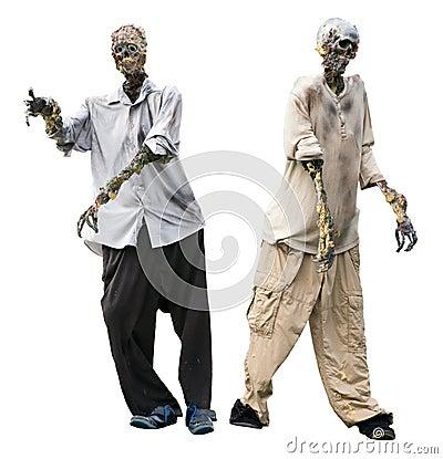 Zombie, de Lijkenetende geesten van de Zombieën van Halloween die op Wit worden geïsoleerdc