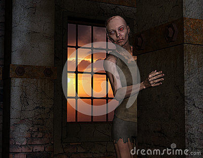 Zombie in front of a window