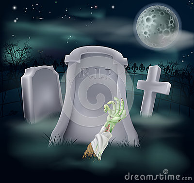 Zombie grave illustration