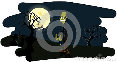 The zombie on a night background