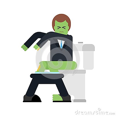 Free Zombie On Toilet. Green Dead Man In WC. Vector Illustration Stock Images - 104694624