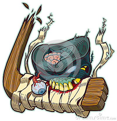 Zombie Puck Biting Hockey Stick Vector Cartoon Stock Photo ...