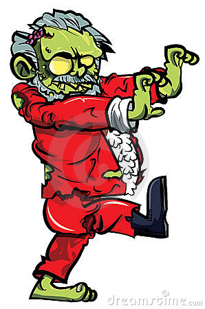 Zombie Santa del fumetto con un caricamento del sistema