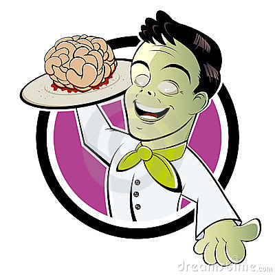 Zombie serving cooked brains