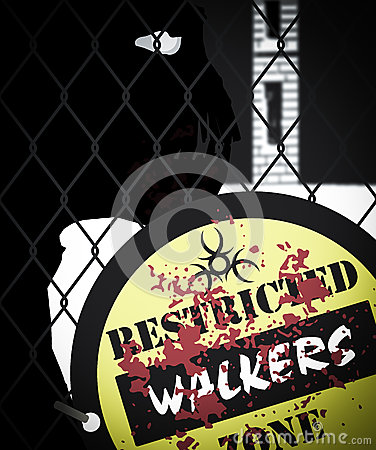 Zombie Walkers Behind Fence Restricted Zone Sign