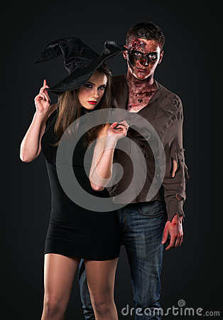 Zombie and witch in the studio