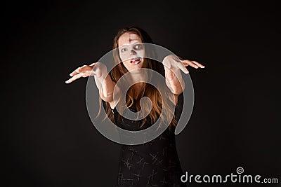 Zombie woman in black dress