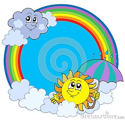 Zon en wolken in regenboogcirkel
