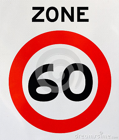 Zone 60 road sign