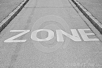 Zone sign print on the road