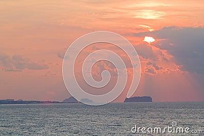 Zonsondergang bij Eiland Jeju