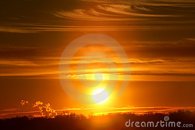 Zonsondergang in Illinois