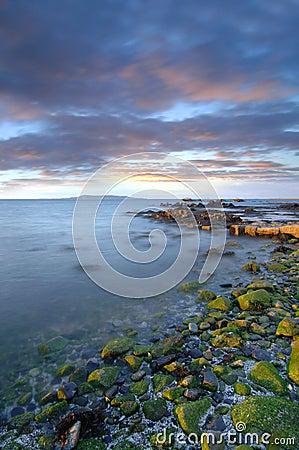 Zonsondergang over de baai van Dublin