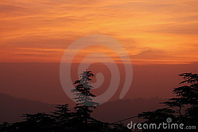 Zonsondergang in Shimla