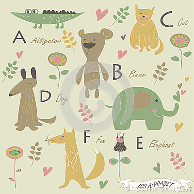 Zoo alphabet Vector Illustration